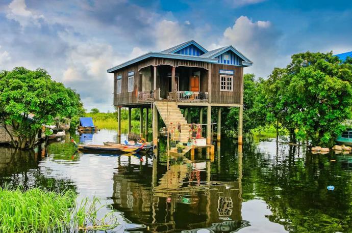 A stilt house on water in Tonle Sap