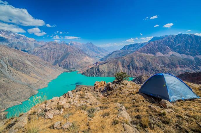 Tent on Iskanderkul lake, Tajikistan