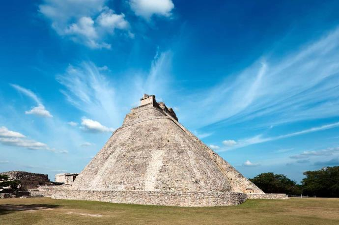 Pyramid of the Magician in Uxmal, in Mexico
