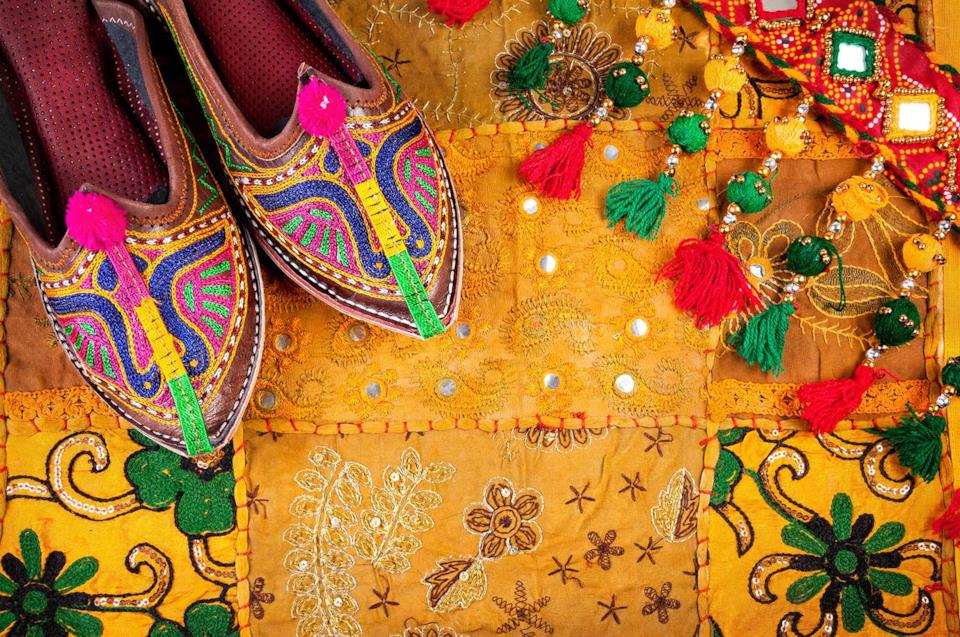 Traditional shoes and cloth from India