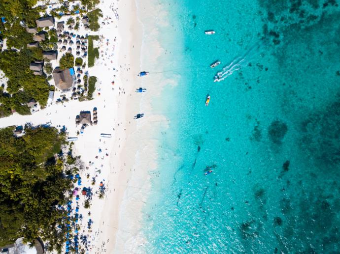 Drone view of Tulum beach in Mexico