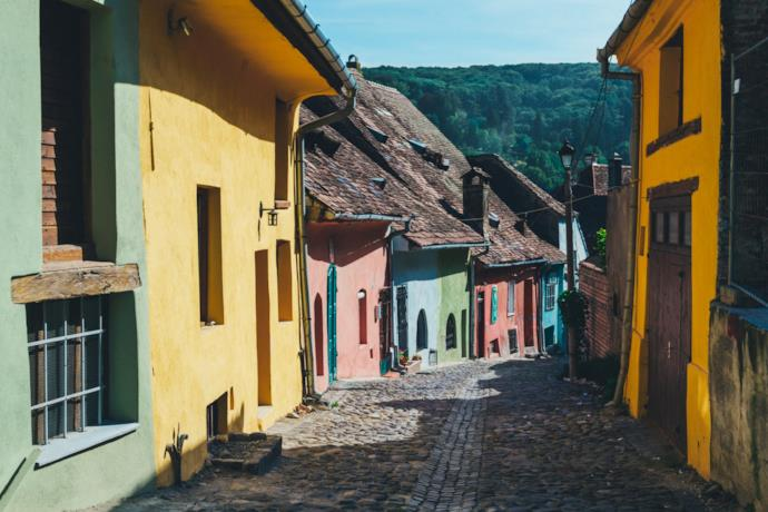 colorful houses in a rural village