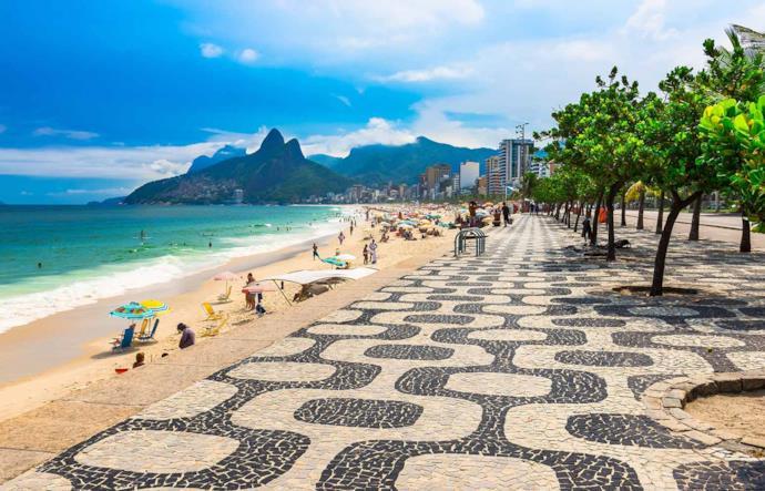 Ipanema beach sidewalk in Rio de Janeiro, Brazil