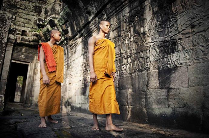 Two young monks in Cambodia