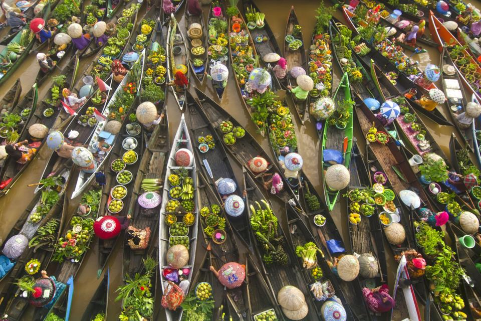 Indonesia floating market boats