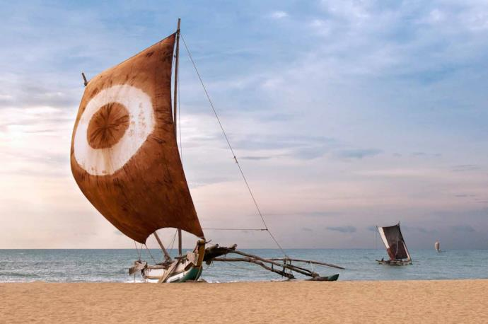 A boat on the beach in Sri Lanka