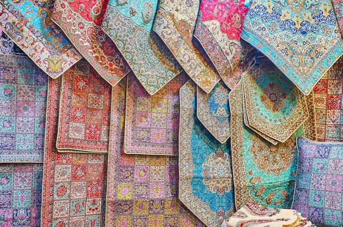 Bazaar traditional fabrics, Iran