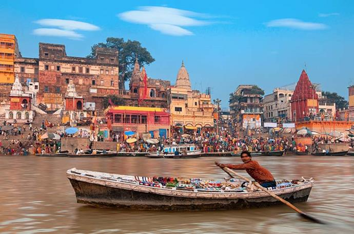 Man rowing a boat on Ganges
