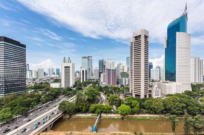 Grattacieli a Giacarta, capitale dell'Indonesia sull'isola di Giava