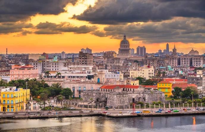 Skyline di Avana al tramonto, Cuba