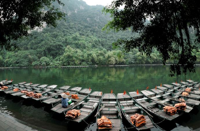 Barche tradizionali a Ninh Binh in Vietnam