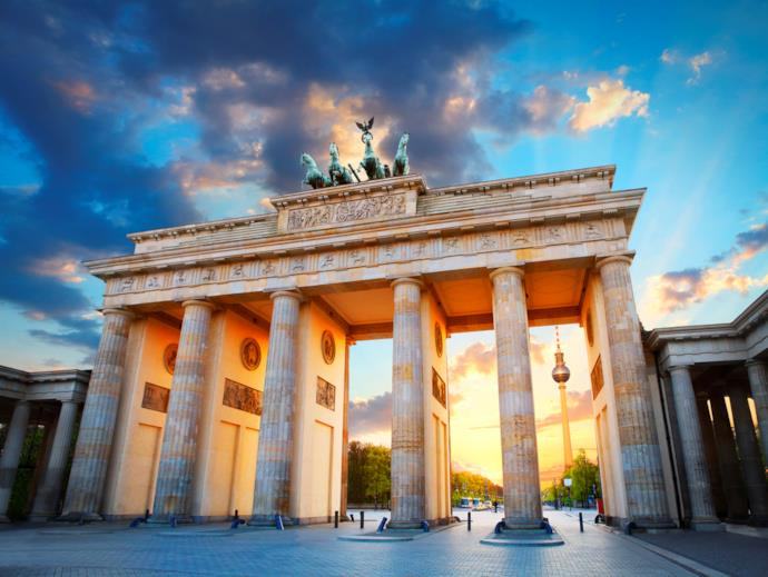 Porta di Brandeburgo al tramonto, Berlino, Germania
