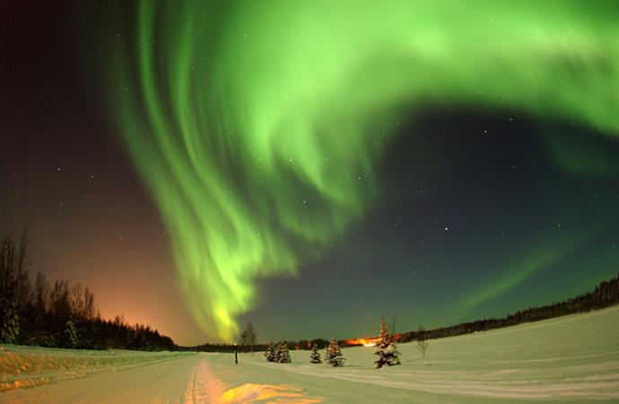 aurora boreale in inverno