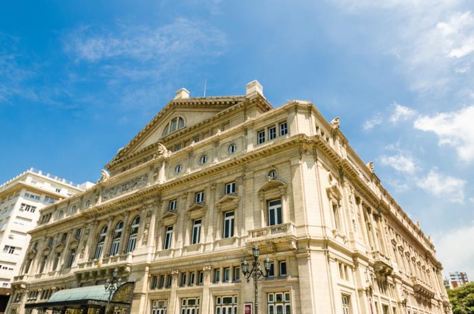 Facciata del Teatro Colon a Buenos Aires