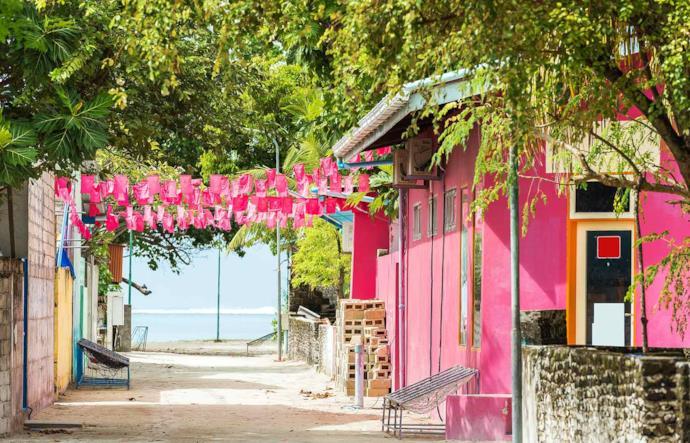 Case colorate di Malè alle Maldive