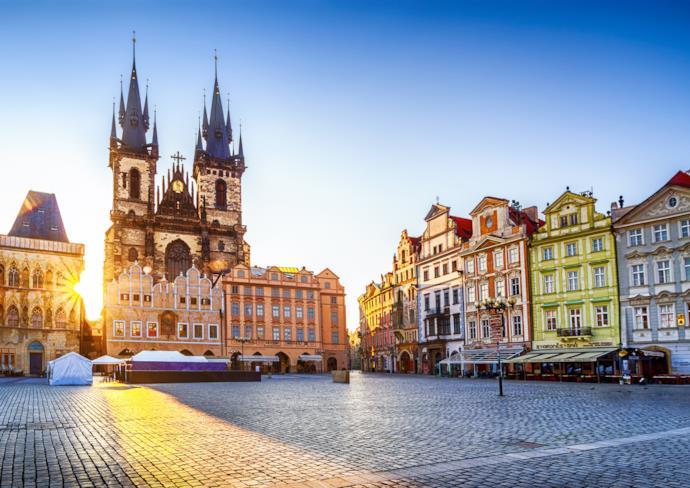Scorcio della piazza centrale di Praga, Repubblica Ceca