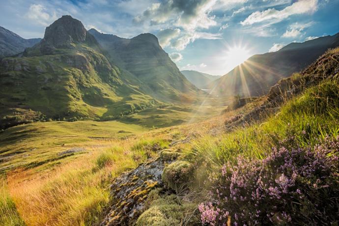 Panorama della Glencoe Valley nelle Highlands in Scozia