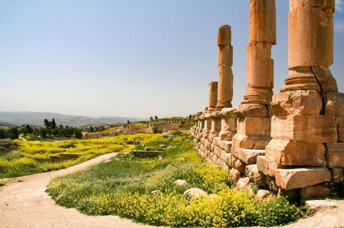 Antiche rovine a Jerash, Giordania