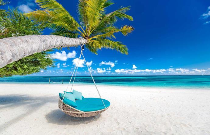 Amaca appesa ad una palma su una spiaggia delle Maldive