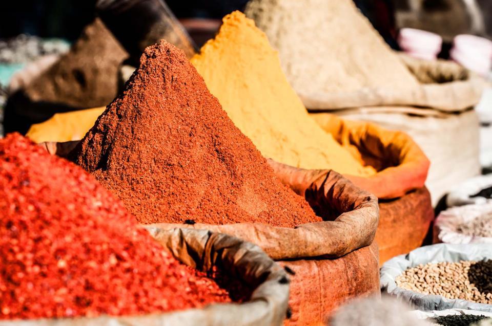 Spezie in un mercato indiano
