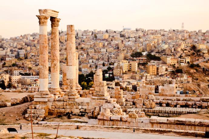 Resti di un tempio romano ad Amman, Giordania