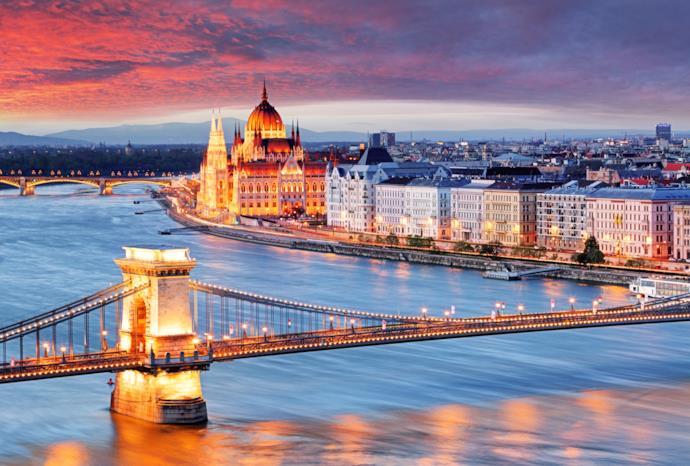 Panorama al tramonto di Budapest, Ungheria