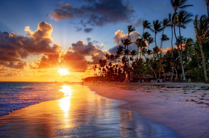 Tramonto su una spiaggia in Messico