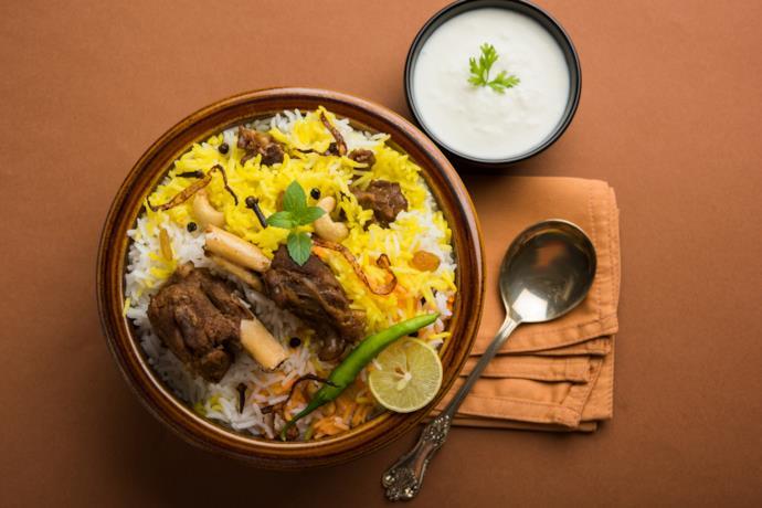 Piatto di Biryani della cucina del nord India