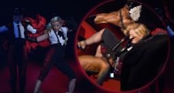 Madonna cade sul palco dei Brit Awards 2015, ma la colpa è di Armani!